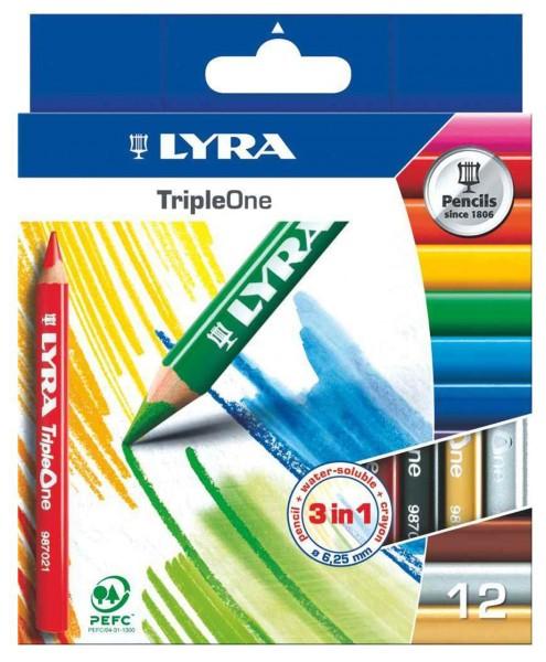 Das ist ein Bild vom LYRA TripleOne 3in1 Farbstift 12er Set in Etui 649188 bei lafueliki