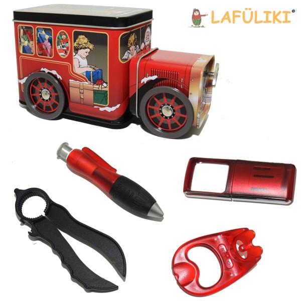Geschenkbox Xmas mit Spieluhr inhalt XXL-Kuli Lupe 3-Fach-öffner Ringzug-Dosenoeffner
