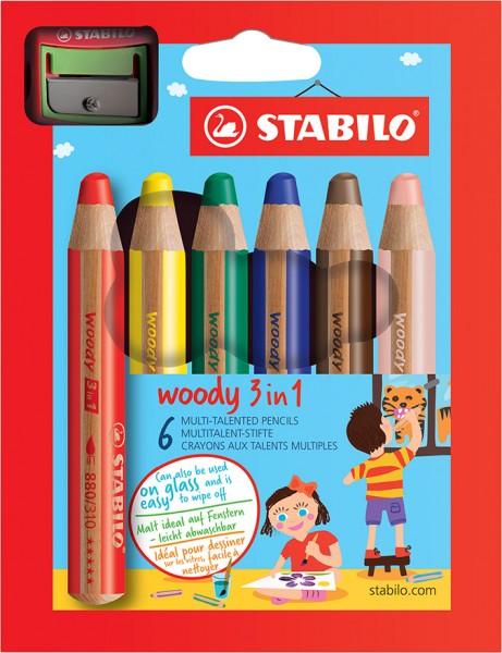 Stabilo Woody 3 in 1 mit RH Spitzer 6er Set