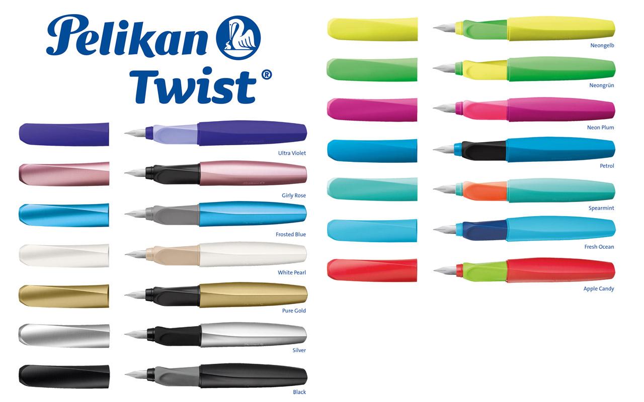 Pelikan Twist Schulfüller Tintenroller neon Gelb//Grün Auswahl RH+LH geeignet NEU