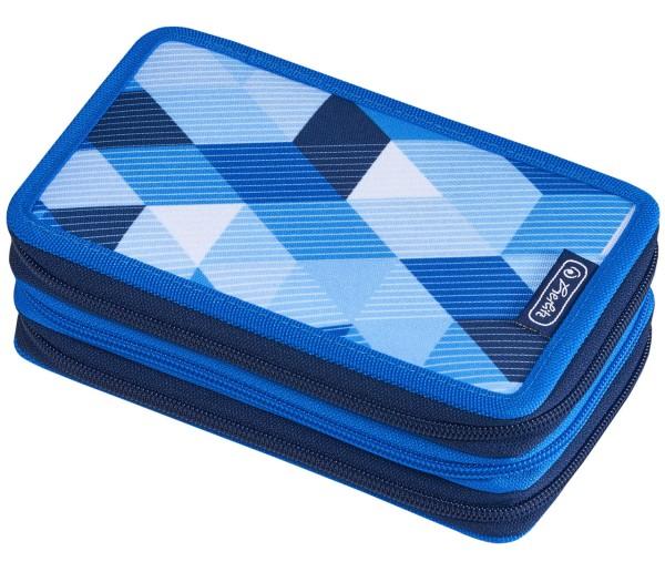 Herlitz Triple Etui - gefüllt - Blue Cubes