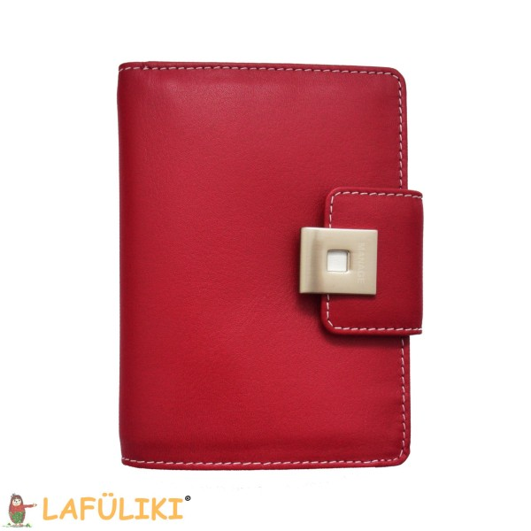 Linkshänder Damenbörse mit Metallverschluss rot