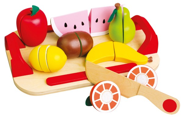 Früchte Lern- und Schneidset aus Holz
