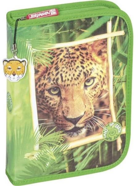 Brunnen Federmäppchen - Leopard zwei Klappen gefüllt -