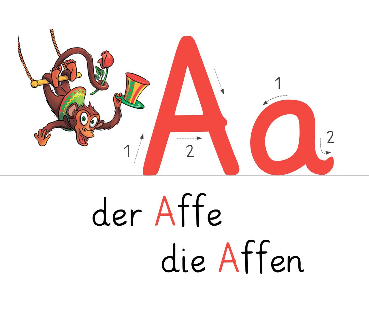 Lernposter-Mein-erstes-ABC-der-Zirkustiere-A-wie-Affe-Alleovs-lafueliki