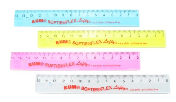 Linkshänder Lineal 15 cm Flex transparent