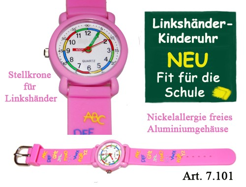 Linkshänder Kinderuhr pink