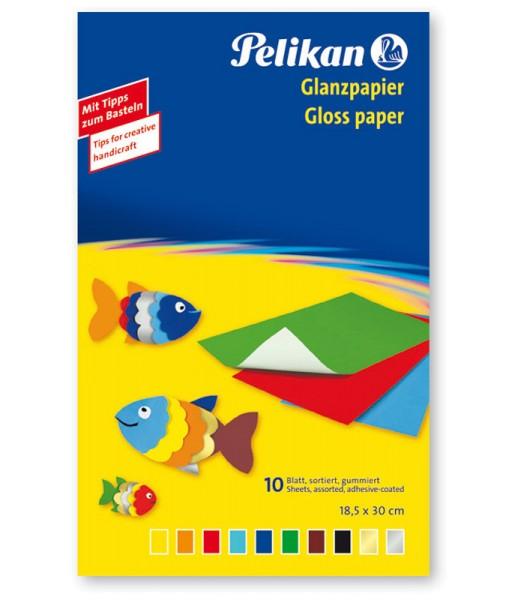 Pelikan Glanzpapier Mappe - 10 Blatt - 10 Farben