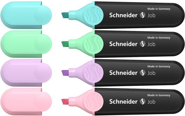 Das ist ein Bild von den Schneider Job 150 Textmarker 4er Etui in Pastell Farben