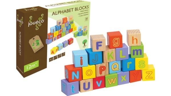 Joueco Holzwürfel 30 teilig Buchstaben und Zahlen