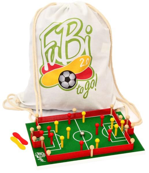 Das ist eine Foto vom FuBi to go Fußball-Billard Tischspiel mit Beutel