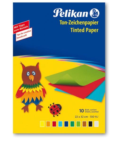 Pelikan Tonpapier Mappe - 10 Blatt - 10 Farben