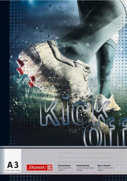 Das ist eine Foto vom Brunnen Zeichenblock in DIN A3 Motiv Fußball aus der Serie Kick off von Brunnen bei LAFÜLIKI