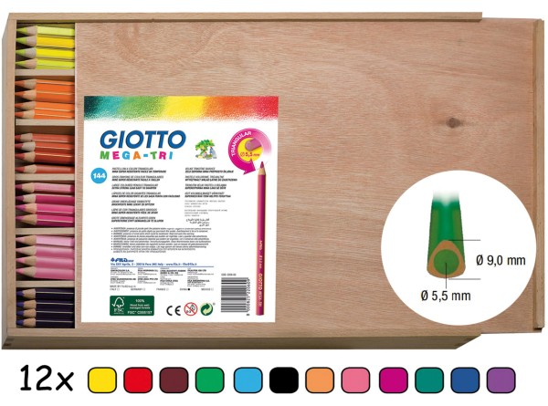 Giotto 144 Mega Tri Farbstifte in Holzbox mit Deckel